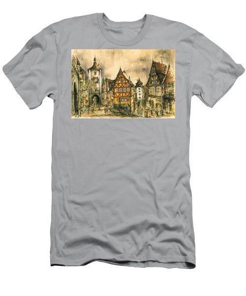 Rothenburg Bavaria Germany - Romantic Watercolor Men's T-Shirt (Athletic Fit)
