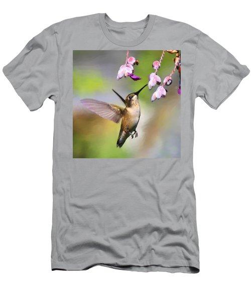 Ruby-throated Hummingbird - Digital Art Men's T-Shirt (Athletic Fit)