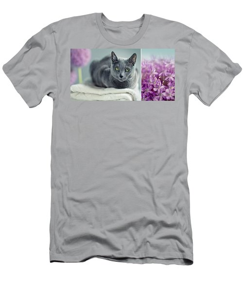Russian Blue Collage Men's T-Shirt (Athletic Fit)