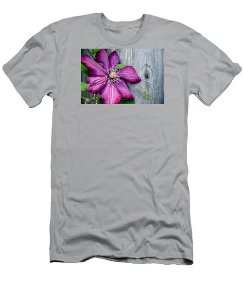 Men's T-Shirt (Slim Fit) featuring the photograph Rustic Clematis by Susan  McMenamin