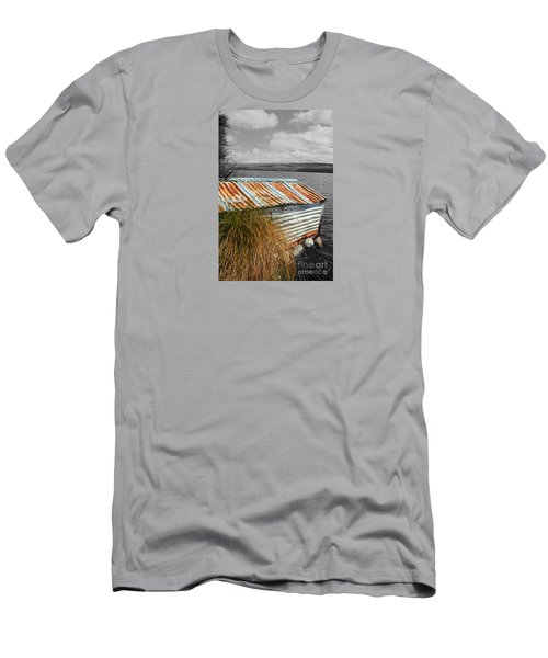 Men's T-Shirt (Slim Fit) featuring the photograph Rusty Boatshed On Lake. by Nareeta Martin