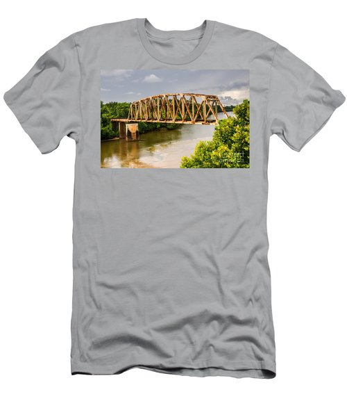 Men's T-Shirt (Athletic Fit) featuring the photograph Rusty Old Railroad Bridge by Sue Smith