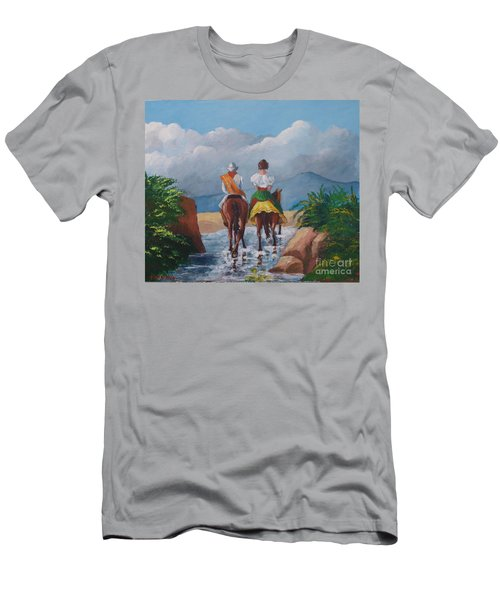 Sabanero And Wife Crossing A River Men's T-Shirt (Athletic Fit)