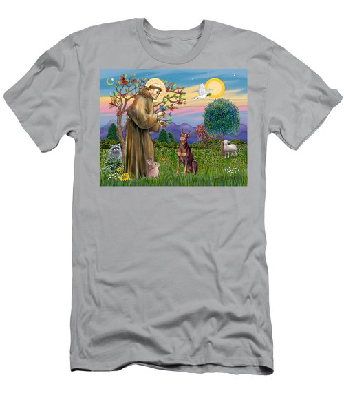 Saint Francis Blesses A Red Doberman Men's T-Shirt (Athletic Fit)