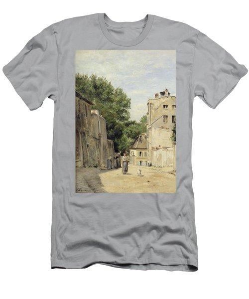 Saint-vincent Street, Montmartre Oil On Canvas Men's T-Shirt (Athletic Fit)