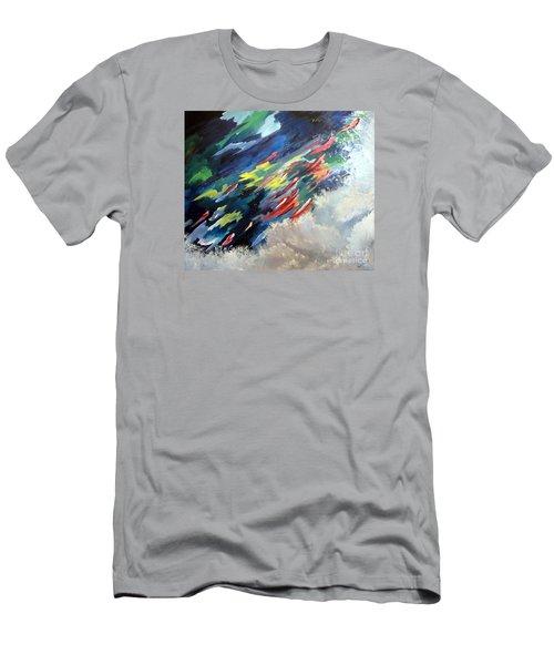Salmon Run Men's T-Shirt (Slim Fit) by Carol Sweetwood