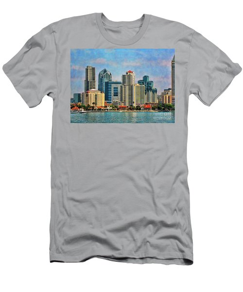 Men's T-Shirt (Slim Fit) featuring the photograph San Diego Skyline by Peggy Hughes