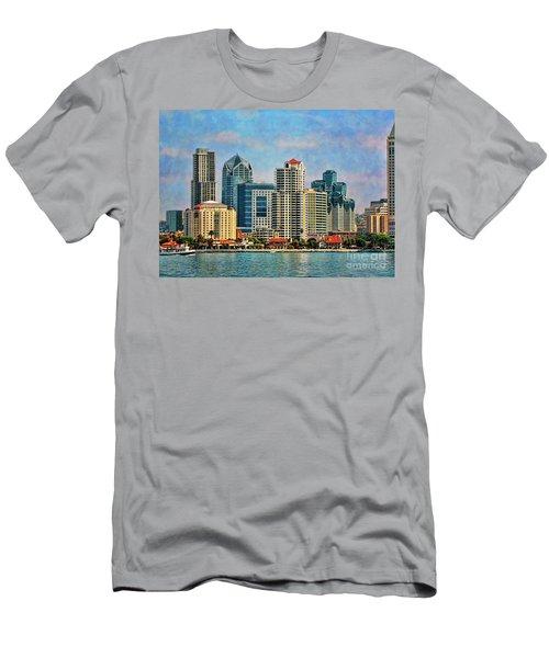 San Diego Skyline Men's T-Shirt (Slim Fit) by Peggy Hughes