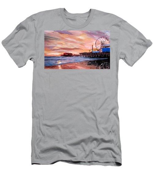 Santa Monica Pier At Sunset Men's T-Shirt (Athletic Fit)