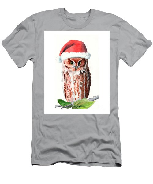 Santa Owl Men's T-Shirt (Slim Fit) by LeAnne Sowa