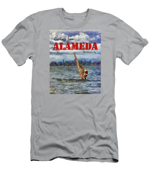 Alameda Santa's Greetings Men's T-Shirt (Slim Fit) by Linda Weinstock