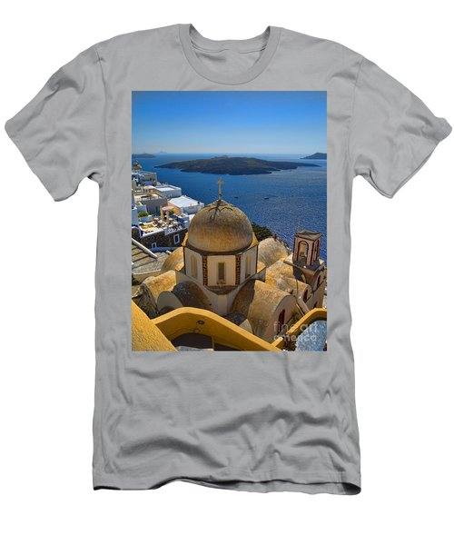 Santorini Caldera With Church And Thira Village Men's T-Shirt (Athletic Fit)