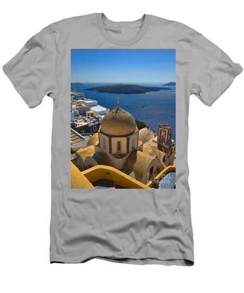 Santorini Caldera With Church And Thira Village Men's T-Shirt (Athletic Fit)