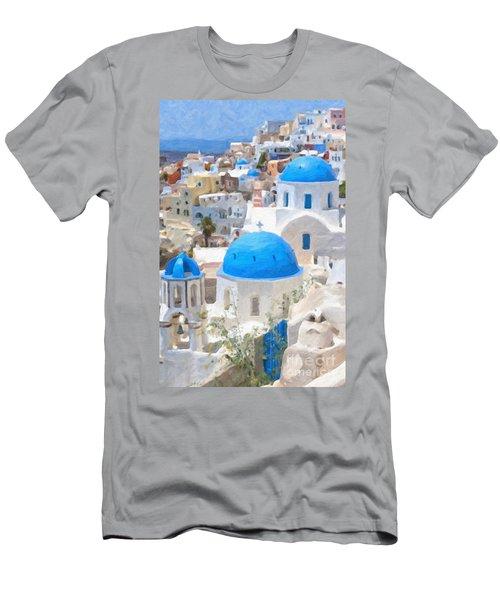 Santorini Oil Painting Men's T-Shirt (Slim Fit) by Antony McAulay