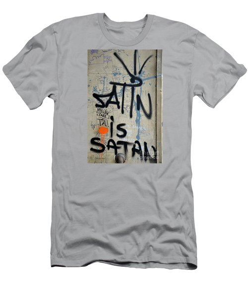 Men's T-Shirt (Slim Fit) featuring the photograph 'satin Is Satan' Graffiti - Bucharest Romania by Imran Ahmed