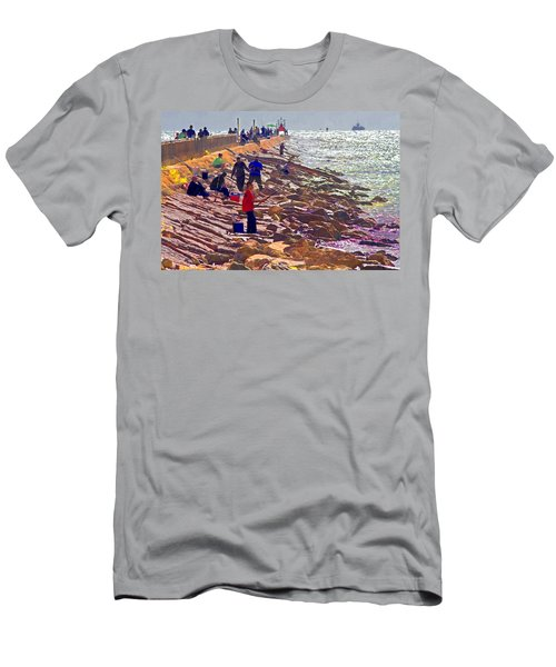 Men's T-Shirt (Slim Fit) featuring the photograph Saturday Morning On The Surfside Jetty by Gary Holmes