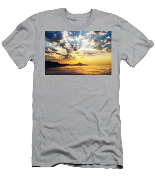 Sea Of Clouds On Sunrise With Ray Lighting Men's T-Shirt (Athletic Fit)