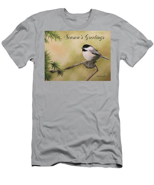 Season's Greetings Chickadee Men's T-Shirt (Athletic Fit)