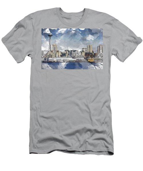 Seattle Skyline Freeform Men's T-Shirt (Athletic Fit)