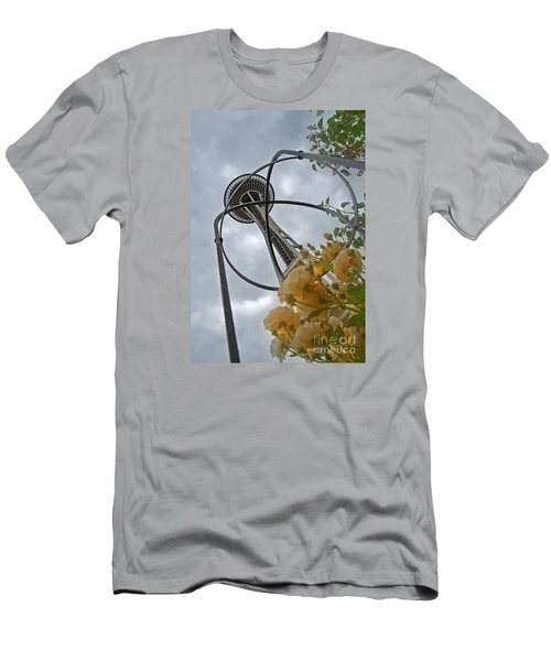 Seattle Spaceneedle With Watercolor Effect Yellow Roses Men's T-Shirt (Slim Fit) by Valerie Garner