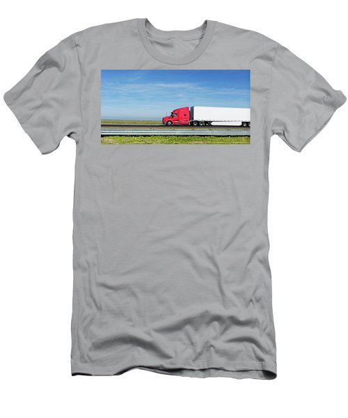 Semi Truck Moving On The Highway Men's T-Shirt (Athletic Fit)