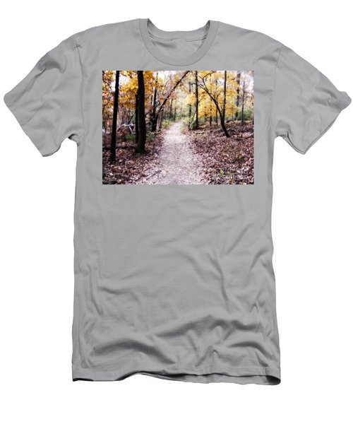 Men's T-Shirt (Slim Fit) featuring the photograph Serenity Walk In The Woods by Peggy Franz