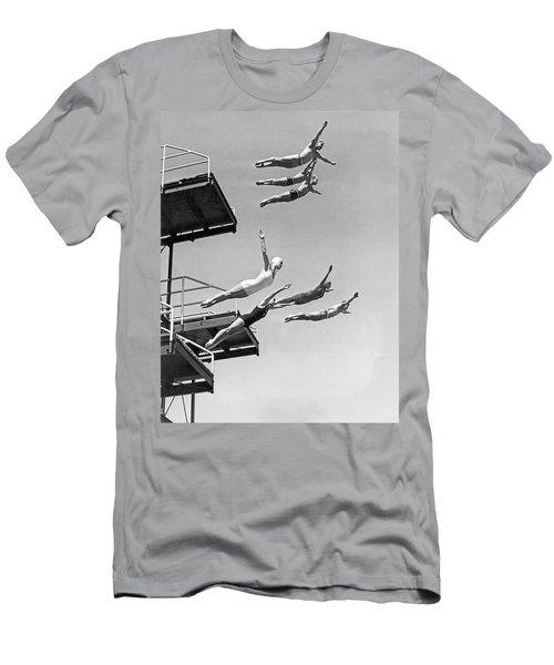 Seven Champion Diving In La Men's T-Shirt (Athletic Fit)