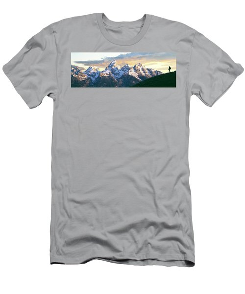Silhouette Of Hiker Looking At Teton Men's T-Shirt (Athletic Fit)