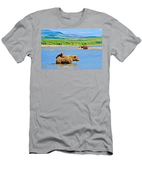 Six-month-old Cub Riding On Mom's Back To Cross Moraine River In Katmai National Preserve-alaska Men's T-Shirt (Athletic Fit)