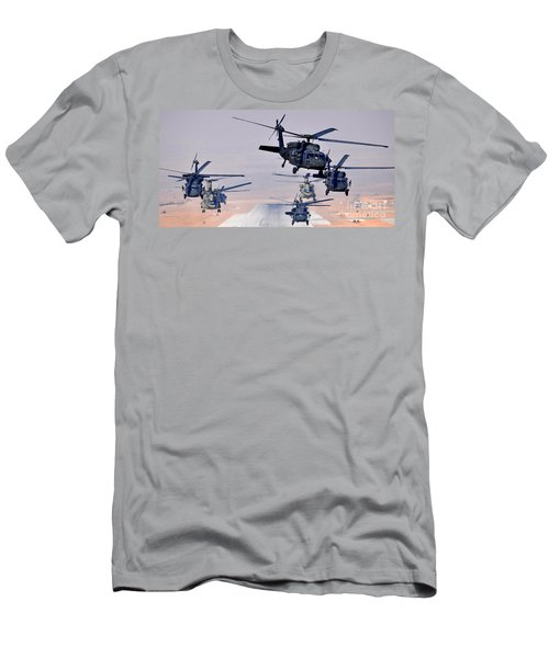 Six Uh-60l Black Hawks And Two Ch-47f Chinooks Men's T-Shirt (Athletic Fit)