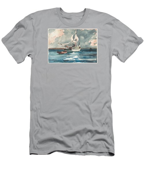 Sloop  Nassau Bahamas Men's T-Shirt (Slim Fit) by Winslow Homer