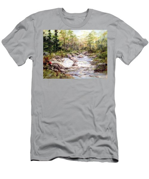 Small Falls In The Forest Men's T-Shirt (Slim Fit) by Dorothy Maier
