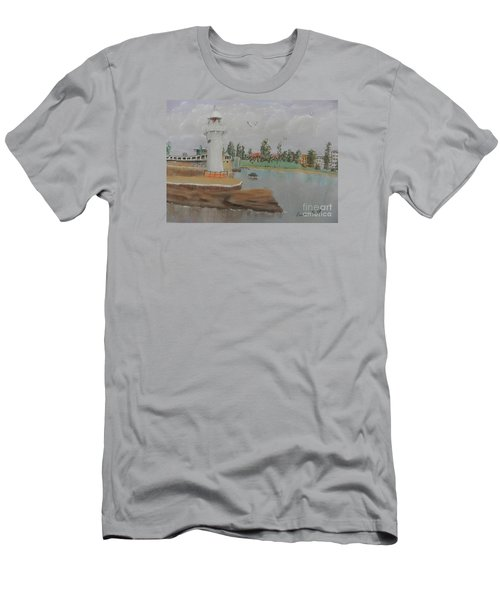 Small Lighthouse At Wollongong Harbour Men's T-Shirt (Slim Fit) by Pamela  Meredith
