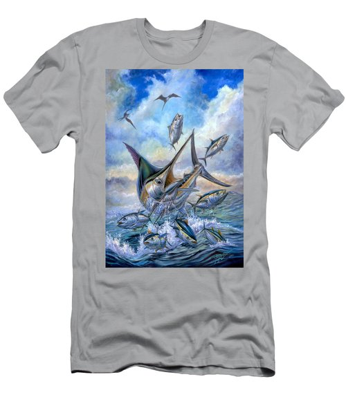 Small Tuna And Blue Marlin Jumping Men's T-Shirt (Athletic Fit)