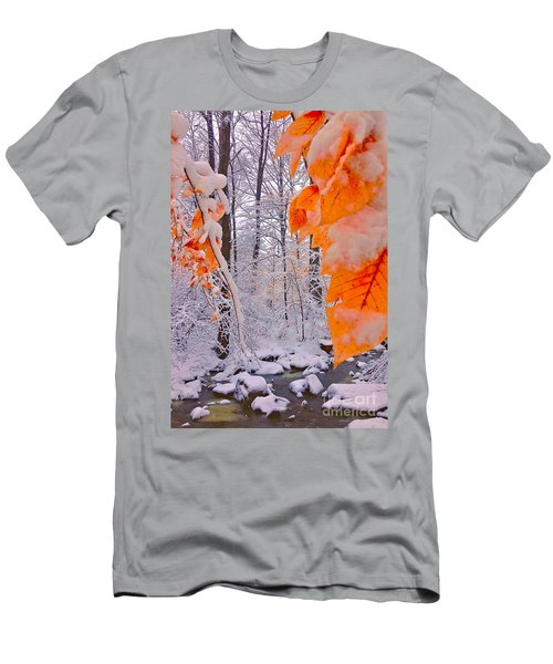 Snow Covered Woods And Stream Men's T-Shirt (Athletic Fit)