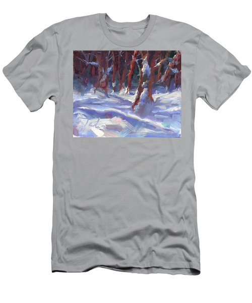 Snow Laden - Winter Snow Covered Trees Men's T-Shirt (Athletic Fit)