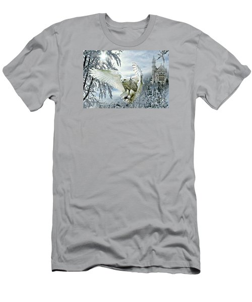 Men's T-Shirt (Slim Fit) featuring the mixed media Snowy Owl by Morag Bates