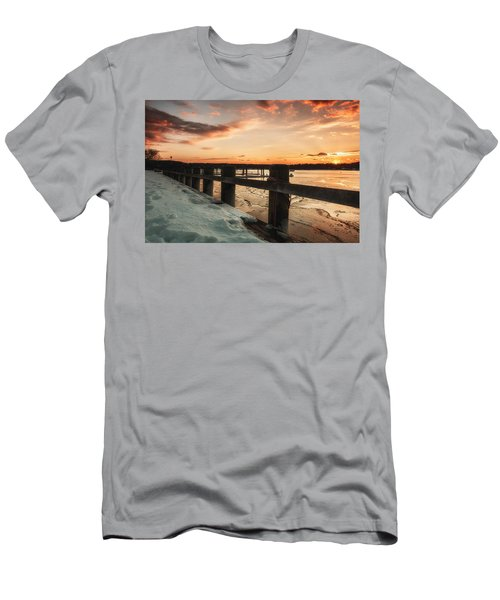 Snowy Sunset In Northport New York Men's T-Shirt (Athletic Fit)