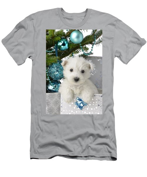Snowy White Puppy Present Men's T-Shirt (Athletic Fit)