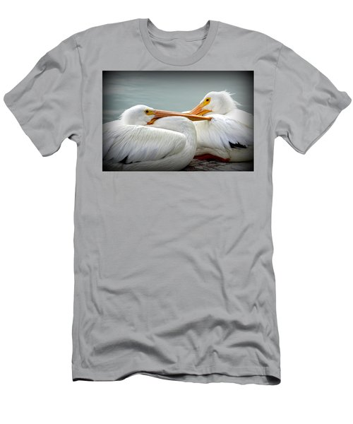 Snuggly Pelicans Men's T-Shirt (Slim Fit) by Laurie Perry