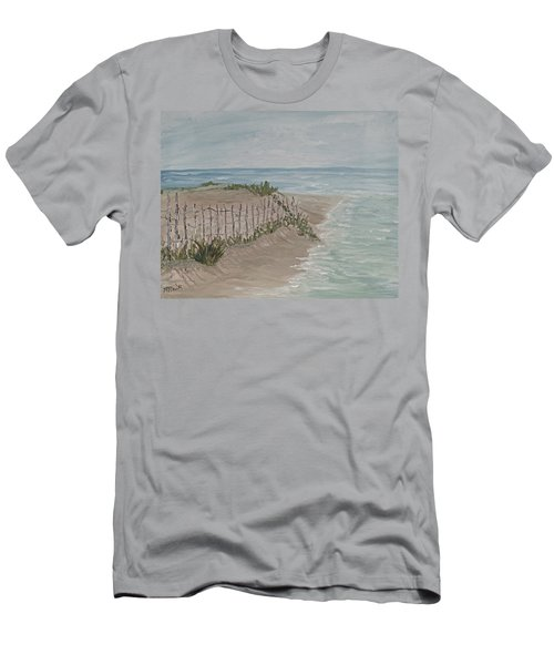 Men's T-Shirt (Slim Fit) featuring the painting Soft Sea by Barbara McDevitt