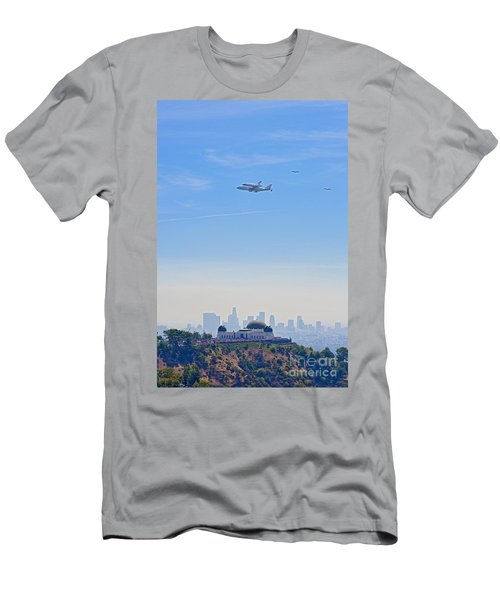 Space Shuttle Endeavour And Chase Planes Over The Griffith Observatory Men's T-Shirt (Athletic Fit)