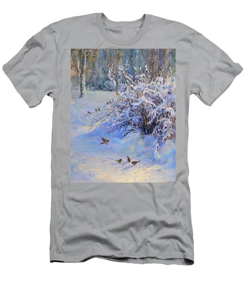 Sparrow On Snow Men's T-Shirt (Athletic Fit)