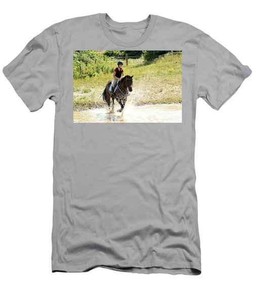 Splashing Thru Water Jump Men's T-Shirt (Athletic Fit)