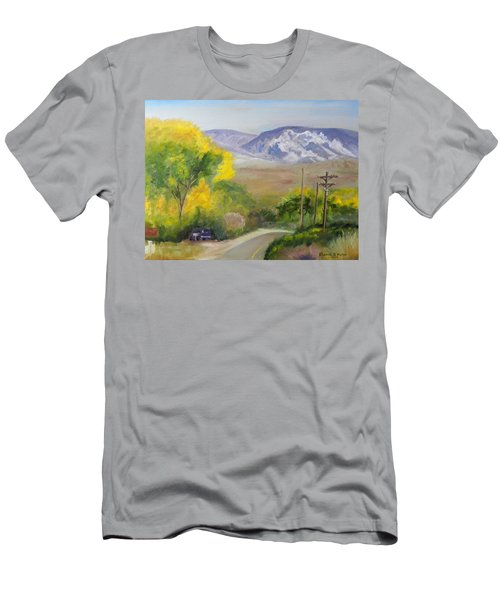 Split Mountain On Golf Course Road Men's T-Shirt (Slim Fit) by Sherril Porter