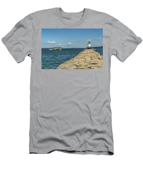 Men's T-Shirt (Slim Fit) featuring the photograph Spring Point Ledge Lighthouse by Jane Luxton