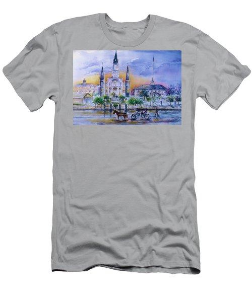 St. Charles New Orleans Sunset Men's T-Shirt (Slim Fit) by Bernadette Krupa