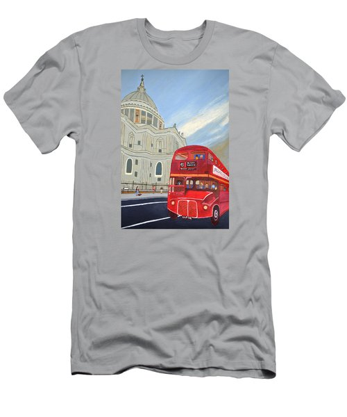 St. Paul Cathedral And London Bus Men's T-Shirt (Slim Fit) by Magdalena Frohnsdorff