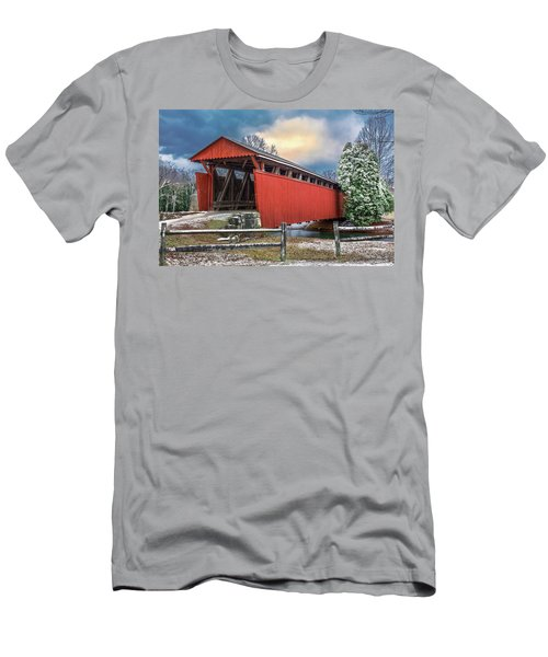 Staats Mill Covered Bridge Men's T-Shirt (Slim Fit) by Mary Almond