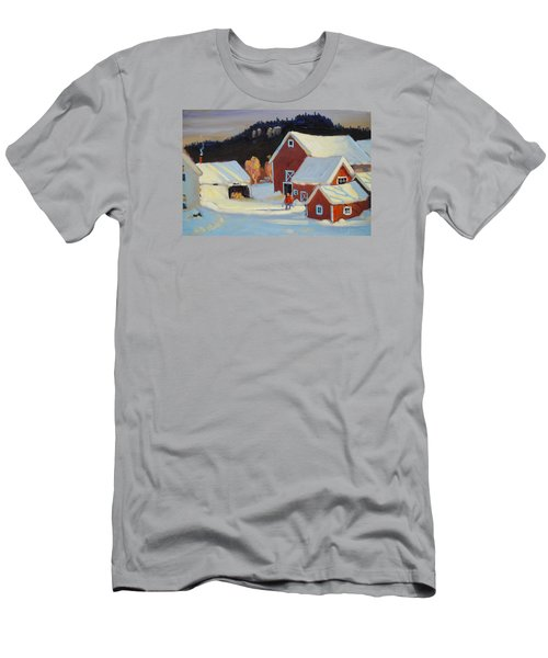 Men's T-Shirt (Slim Fit) featuring the painting Stanley Kay Farm by Len Stomski